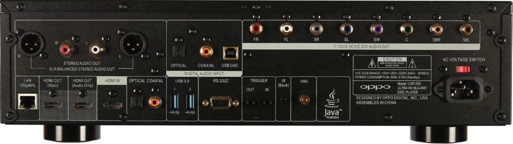 region-free oppo udp-205 rear panel view